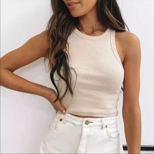 Beige ribbed cropped top